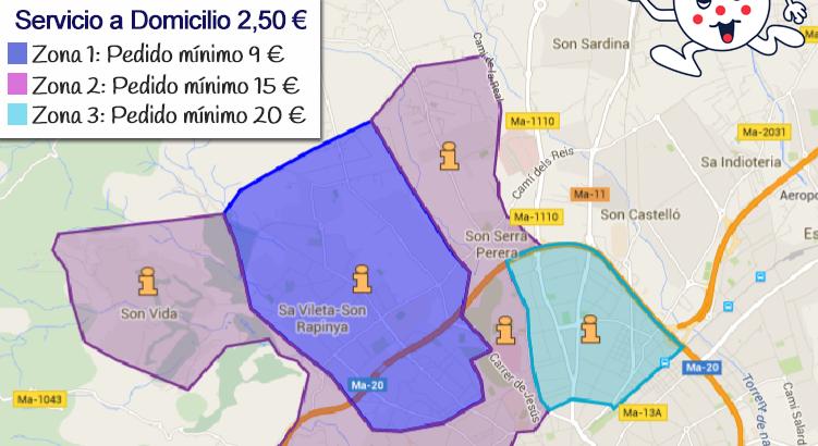 Nuevas Zonas de Reparto a Domicilio