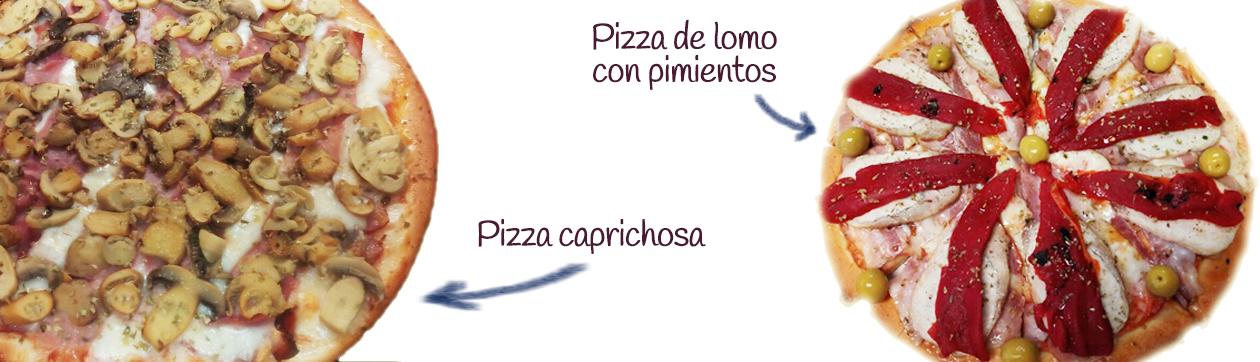Pizzas Caprichosa y lomo con pimientos