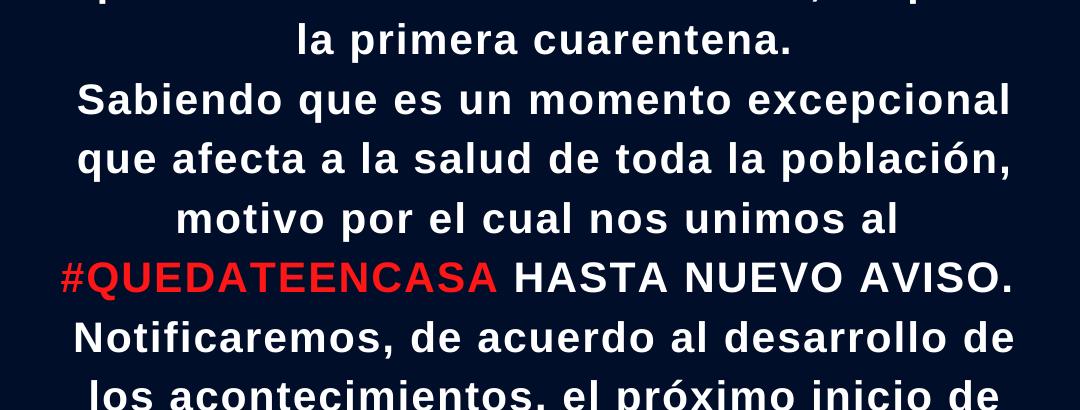 Nos unimos al #Quedateencasa hasta nuevo aviso.